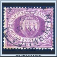 1877 San Marino Stemma cent. 40 lilla scuro n. 7  Usato