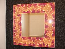 SUPERBA A Mano Mosaico Specchio con darkyellow e colore marrone 40x40 cm di larghezza