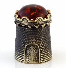 Thimble Brass and Cognac Baltic Amber Medieval Castle Tower Russian Souvenir