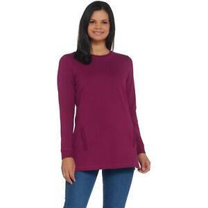 NWT Denim & Co. Women's Active Crew Neck Long Sleeve Tunic Sweatshirt. A297782