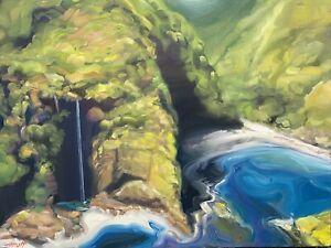 "Abbott Oil Painting Stretched Canvas 24""x18"" Hawaii, Maui, Hana Coast Waterfall"