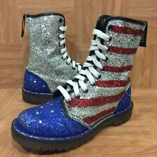 1990's🔥 Dr Martens Glitter Boots Made In England USA Flag Sz 6 Custom Made