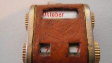 Vintage German Perpetual Rotating Numeral Calendar Pendant Leather & Brass