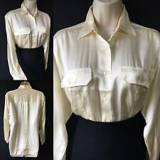 Womens UK 20 Silk Satin Cream Ivory Career Shirt Top Business Work Office Blouse