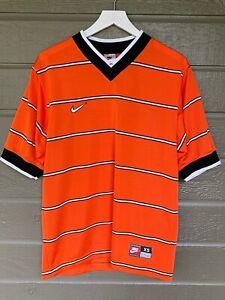 Vintage Nike Soccer Jersey Shirt Orange Stripes Mens XS Made in USA Team Sports