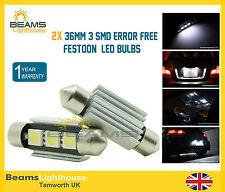 2x 36mm 3 SMD LED Bombillas De Matrícula Libre De Errores Blanco Audi TT A3 A4 A5 A6 A8 Q5