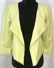 Bershka vintage Leather Dressy Collection short open yellow leather Jacket Sz M