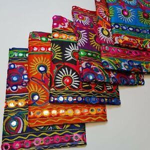 "Cotton Indian Ethnic Mirror Embroidery Suzani Rangoli Boho Banjara Fabric 44"""