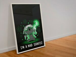 Im a Mad Scientist, Funny Science Cat Poster, Animal Art Print, Chemistry
