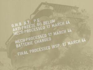 marquage pochoir CAPOT INTERNE ENTRETIEN jeep WILLYS FORD GPW DODGE GMC us ww2