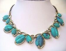 "STUNNING VINTAGE ESTATE BLUE THERMOSET GROOVED 17"" NECKLACE!!! 6669T"