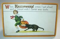 Vintage Halloween Postcard Stecher Series 63 F Black Cat Chases Boy Original