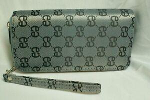 Ladies Wallet 2 zip closure divided sides, Diamond pattern design logo silver