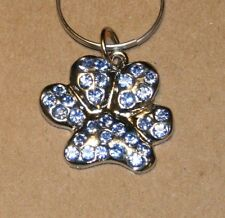 Paw Prints Rhinestone Dog Collar Charm Blue