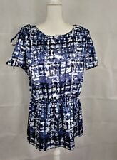apostrophe womens size XL blue/white short sleeve 100% polyester top
