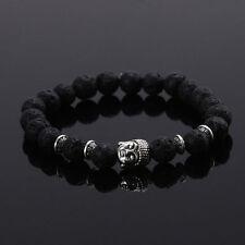 Fashion Men's Spot Natural Lava Stone Silver Buddha Beaded Charm Bracelet