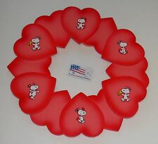 """PEANUTS SNOOPY 15"""" 3D WOOD HEART WREATH VALENTINES DAY PLAQUE MODIFIED - VGUC"""