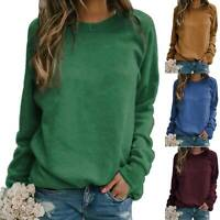 Womens Plus Size Sweater Ladies Long Sleeve Knit Casual Jumper Pullover Blouse