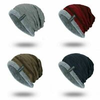 Soft Cap Striped Men's Toboggan Winter Knit Slouchy Hat Warm Ribbed