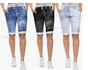 Women's Ladies Italian Plain Elastic Waist Turn Up Summer Beach Shorts Pants New