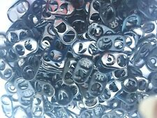 100 BLACK ALUMINUM CAN TABS ASSORTED  PULL TABS POP TOPS SODA