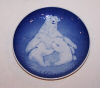 STUNNING 1974 B&G BING AND GRONDAHL DENMARK MOTHER'S DAY POLAR BEAR & CUBS PLATE