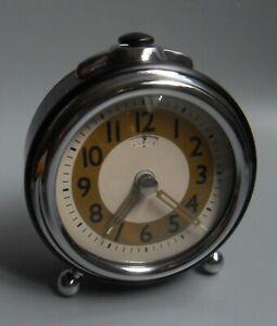 Pottery Barn Alarm Clock Push Button Retro Black & Chrome Trim Easy to Read