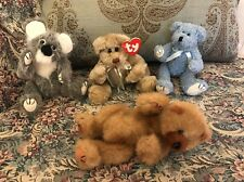"""Lot of 4 Ty 9"""" (3)Jointed Bears Cody Beverly Brisbane Bluebeary Excellent #1S"""