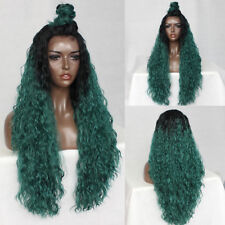 Heat Resistant Wigs Ombre Green Water Wave Synthetic Lace Front Wigs for Women