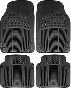 Car Universal Floor Mats All Weather Rubber 4 Pc Set Custom Fit Truck Heavy Duty