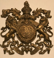 Antique Neoclassical Napoleonic Gold Medallion Coat Of Arms Plaque/ Mount