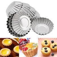 Baking Tool 10PCS Egg Tart Aluminum Cupcake Cake Cookie Flower Mold Mould Tin