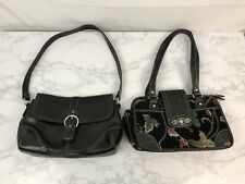 Vintage Handbags Lot of 2 Floral Material Purse and Faux Leather Black Purse Bag