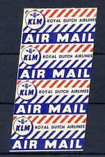 NEDERLAND 1935 ca.  KLM 4 x INTERNAT.  AIRMAIL  LABEL -ROYAL DUTCH AIRLINES -