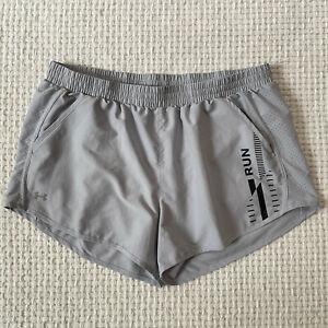 Under Armour Heat Gear Running Shorts Womens X-Large XL Gray Brief Lined Run