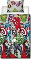 Marvel Avengers Stickers Duvet Cover Single Reversible Bedding Set Official