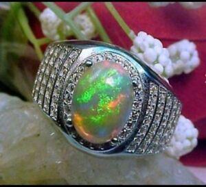 Natural Fire Opal White Topaz Gemstone 14K White Gold Men's Ring SR758