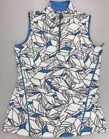 Tail Golf Women's Large Sleeveless 1/4 Mock Neck Snap Shirt Blue White Floral