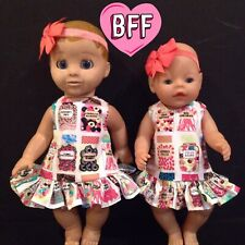 "17"" Dolls Clothes Fits Luvabella . Fits Baby Born dolls . Dolls Pinafore Outfit."