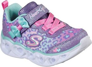 Skechers Kids Heart Lights Touch Fastening Trainer Lavender/Aqua