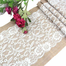 BU_ Vintage Burlap White Lace Table Runner Jute Wedding Party Decoration Deluxe