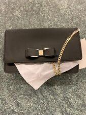 NWT Ted Baker London Black Evening Bag Clutch Purse Bow Chain Strap, Zaandra