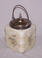 Antique Wavecrest Cracker or Biscuit Jar  - Floral Decoration