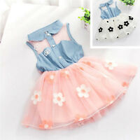 2~7Y Baby Girls Princess Flower Tutu Dress Toddler Kids Lace Tulle Party Dresses