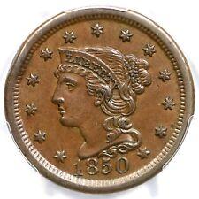 1850 N-21(b) PCGS AU 55 Braided Hair Large Cent Coin 1c