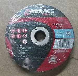 ABRACS Proflex 100mm (4'') x 3mm Flat Metal Cutting Discs (Pkt 100)