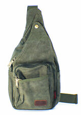 AM Landen GREEN Canvas Messenger Sling Body Bag Backpack Sport Day Hiking Bag