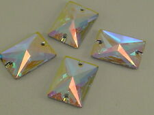 6 pcs. 18X13mm CRY AB RECTANGLE SEW ON swarovski rhinestone