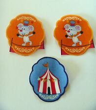 3 Iron On Iron Ons Fabric Material Applique Transfer Circus Mouse Tent Handcut