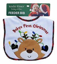 Tender Kisses Infant Embroidered Bib Baby's First Christmas Reindeer New